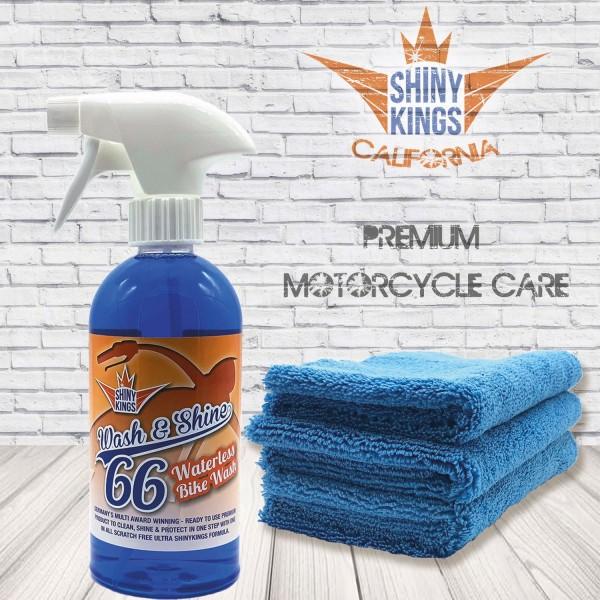0,5 L Saisonstart Special Shinykings California Wash & Shine 66 Motorradreiniger ohne Wasser