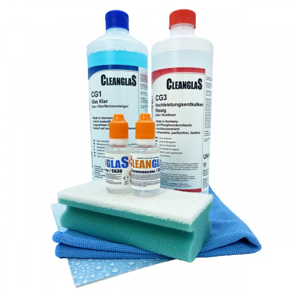 CleanglaS Glasversiegelung Nanoversiegelung für Dusche inklusive Entkalker stark für bis zu 48m2