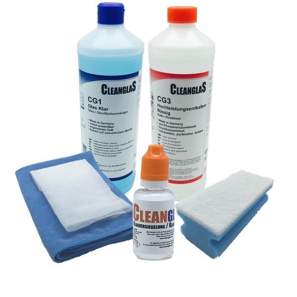 CleanglaS Glasversiegelung Starter Komplettset 30ml mit Anti Kalk Schutz