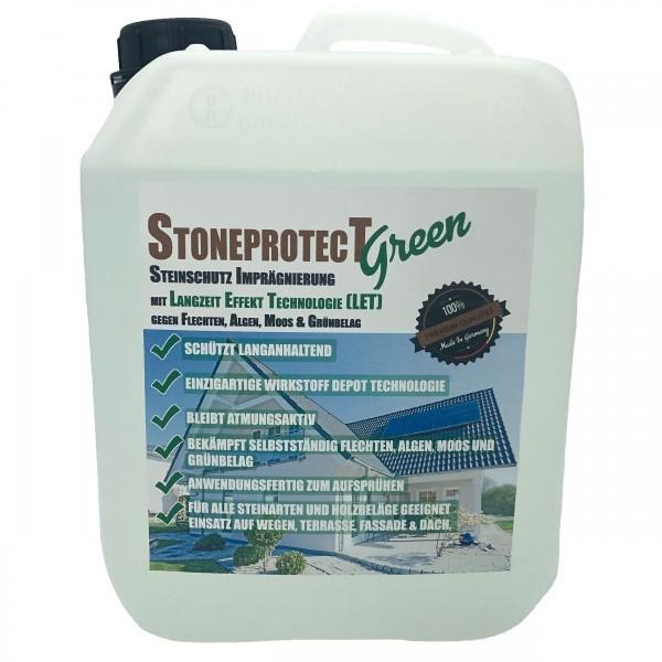 Steinimprägnierung Steinversiegelung Stoneprotect SPGREEN gegen Grünbelag, Moos, Algen und Flechtenbildung mit Langzeit Effekt Technologie