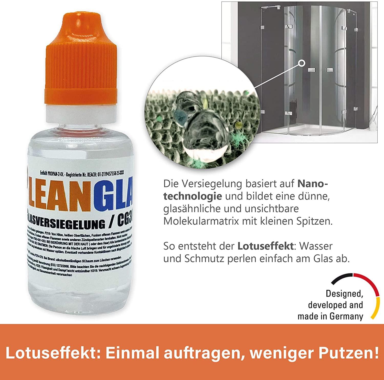 Glasversiegelung_Dusche_Testsieger_direktvergleich_Cleanglas_Molekularmatrix